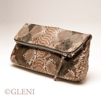GLENI FOLD-OVER CLUTCH IN GENUINE PYTHON LEATHER