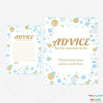 Advice for Mommy To Be - Blue and Gold Baby Shower Games - Baby Shower Mom Advice Cards - Glitter Confetti - Blue Boy - Printable CB0003-BG
