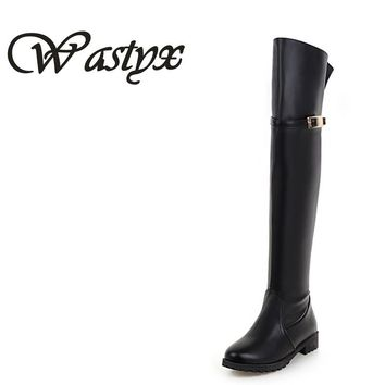 Wastyx new women boots fashion adies flat over the knee boots riding women snow long botas warm winter boot  buckle footwear