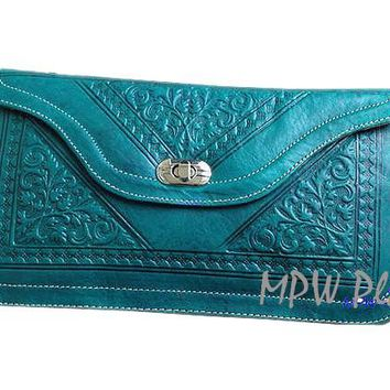 Moroccan Leather clutch bag - Emerald Green