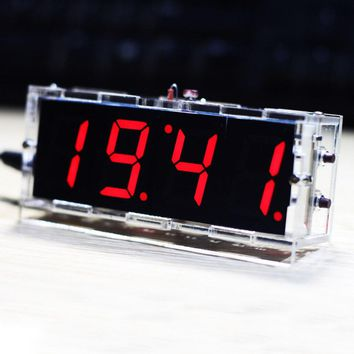 Compact 4-digit DIY Digital LED Clock Kit Light Control Temperature Date Time Display Transparent Case (Battery Not Included)