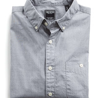 Button Down Collar Dot Shirt in Grey Heather