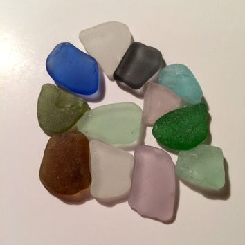 12  pieces of Genuine TEXAS Gulf Sea Glass, brown, grey, blue, green, lavender texas found beach glass lot jewelry supply craft home decor
