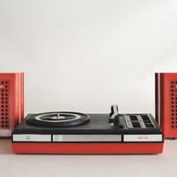 Vintage Philips 623 Stereo Red and Black Portable Record Player, battery and main operated