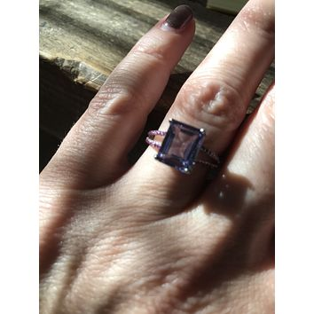4.25CT Emerald Cut Alexandrite Split Shank Engagement Ring