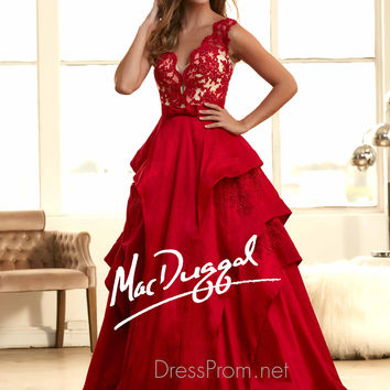 Wide Lace Shoulder Straps Prom Ball Gown By Mac Duggal 48220H