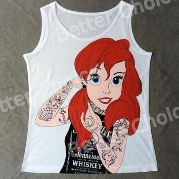 Track Ship+Vintage Vest Tanks Tank Tops Camis Cartoon Tattoo Red Hair Princess The Little Mermaid Beauty 0595