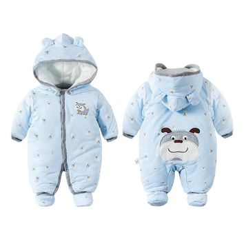 Cute Baby Boy Girl Winter Rompers Hooded Dog Romper Boys  Warm Clothes Costome Kids Jumpsuit Baby clothes set