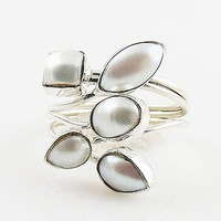 Pearl Five Stone Sterling Silver Adjustable Ring