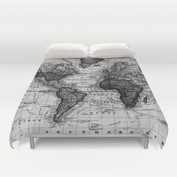 Vintage Map of The World (1833) White & Black Duvet Cover by BravuraMedia