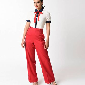 Banned 1940s Red High Waist Party On Stretch Sailor Pants