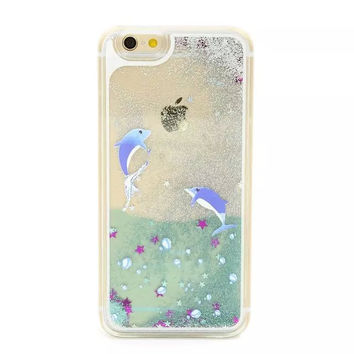 Dolphins in Liquid Ocean & Sparkling Glitter Sand for iPhone 4, 5, 6, 6S, 6 Plus, 6S Plus