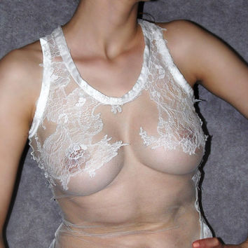Sheer lace cami top white camisole tank top Transparent shirt  Luxury white lingerie Chantilly Lace seethrough white lace shirt