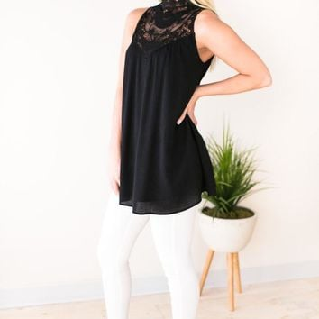 Set the Tone Lace Yoke Babydoll Tunic