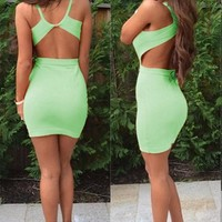 Green Cut Out Sleeveless Open Back Mini Dress