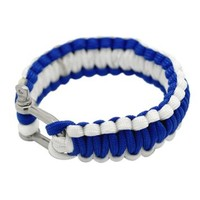 MJartoria Blue and White Strands Braided Outdoor Sports Paracord Bracelet with Alloy U Shackle