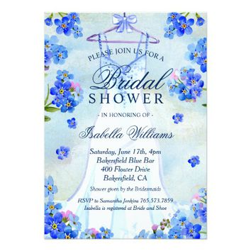 Elegant Floral Boho Wedding Dress Bridal Shower Card