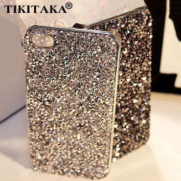 Fashion 3D Hi-Q Luxury Bling Crystal Diamond Rhinestone Hard cover pretty phone cases Capa for iphone 5 5S SE 6 7 Case