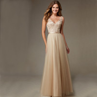 2016 New Champange Embroidery Lace Long Bridesmaid Dresses Sexy Chiffon V-Neck Backless Cheap Robe Demoiselle D'honneur