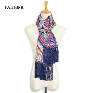 CREYLD1 [FAITHINK] 2018 New Fashion Women Rainbow Foulard Scarf Luxury Brand Spring and Summer Cape Travel Fancy Ponchos and Capes