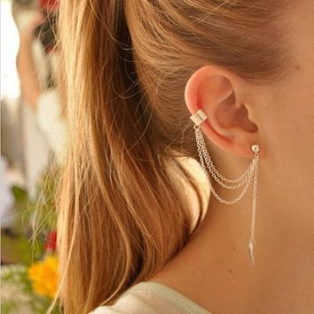 Tassel Feather Ear Cuff