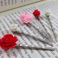 Be Mine Bobby Pin Set, Red, Pale Pink and White Flower Bobby Pins in Assorted Sizes, Valentine's Day