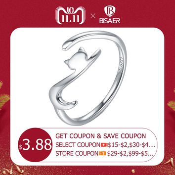 Genuine 100% 925 Sterling Silver Cat Ring Cute Animal Open Size Finger Rings for Women Sterling Silver Engagement Jewelry ECR220