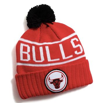 Chicago Bulls Glow In The Dark Pom Beanie Red