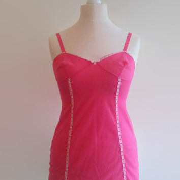 Candy pink vintage slip - 1960s fuschia chemise - bright pink short slip - retro pin up lingerie