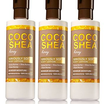 3 PACK Bath & Body Works COCO SHEA HONEY Seriously Soft Body Lotion 7.8 oz