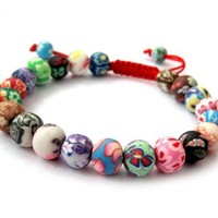 Fimo Polymer Clay Beads Buddhist Prayer Wrist Mala Bracelet