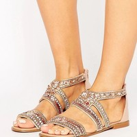 River Island Diamante Encrusted Sandals at asos.com