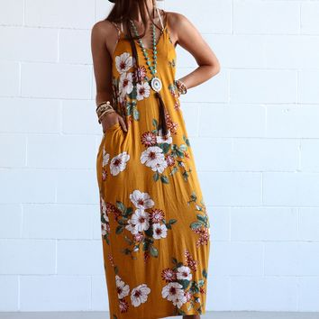 Give Me Love Floral Pocket Maxi Dress - Mustard