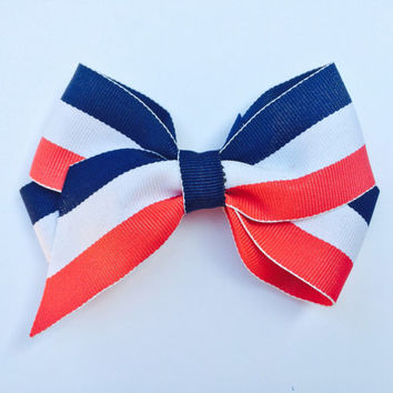 American Flag Hair Bow, 4th of July Bow, Patriotic Bow, Hair Bow, Hair Accessories