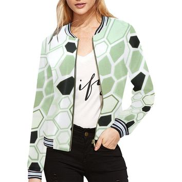 Hex Camo Design 1 Women's All Over Print Horizontal Stripes Jacket