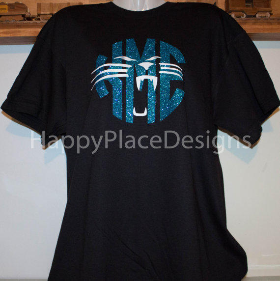 Carolina Panthers   Inspired   Personalized Glitter Monogrammed Shirt 137a28b77