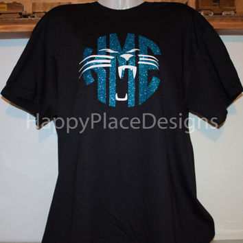 ae1fc15a4 Carolina Panthers   Inspired   Personalized Glitter Monogrammed Shirt