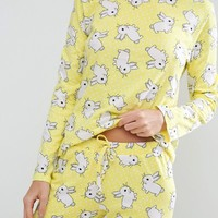 ASOS Bunny Print Long Sleeve Tee and Legging Pajama Set at asos.com