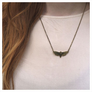 NATURE GIRL Brass Moth Necklace