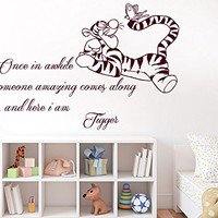 Wall Decals Quotes Vinyl Sticker Decal Quote Winnie the Pooh Tigger Once in awhile someone amazing comes along Nursery Baby Room Kids Boys Girls Home Decor Bedroom Art Design Interior C35
