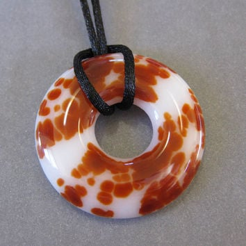 Red and White Glass Necklace Fused Glass Donut by mysassyglass
