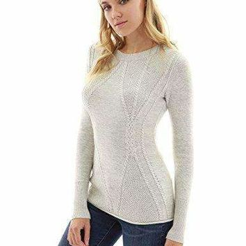 PattyBoutik Women's Cotton Blend Crewneck Cable Knit Sweater (Heather Light Gray XS)
