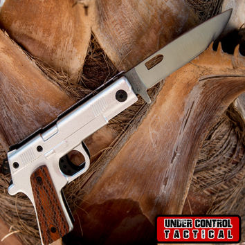 Silver 1911 Spring Assisted Gun Knife with Folding Handle