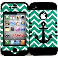 Bumper Case for Apple iphone 4 4G 4S Black Anchor on Pink Chevron hard plastic snap on over Black Silicone Gel