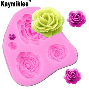 Kaymiklee M025 Rose Flower shape fondant molds silicone mould kitchen accessories biscuit sweets and candy food cake decorating