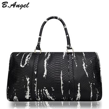 High quality crocodile pattern men travel bags women duffle bag hand luggage leather traveling bag handbag corssbody with strap