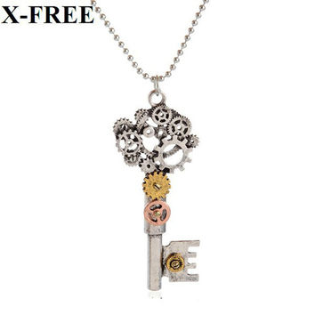 Retro steampunk key butterfly angel wings anchors pendant bead chain necklace women jewelry punk llaveros collares collier femme