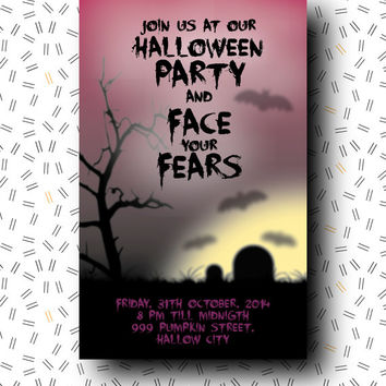 Halloween invitation sign postcard cards halloween party poster / printable pdf / fears scary bats trick or treat party decorations invite