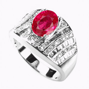 2.55 Carats Ruby Diamond Ring in 14K White Gold