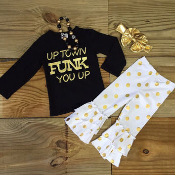 """Upwn Funk Me Up"" Gold Polka Dot Outfit"